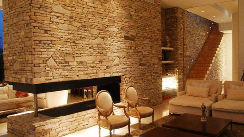 Interior Calming Modern Interiors Stone Wall