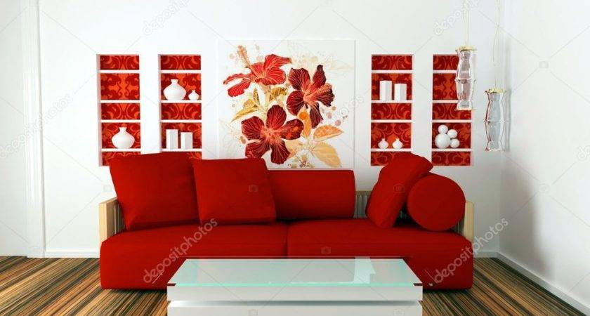 Interior Design White Red Living Room