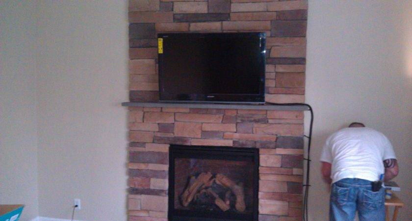 Interior White Wall Also Brick Fireplace Mounting