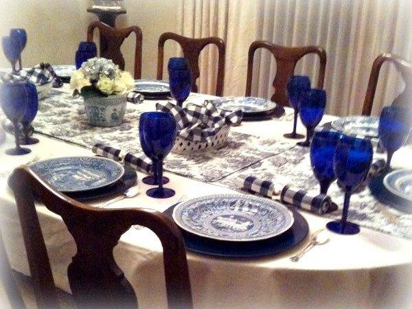 Invented Style Ceiving Guests Blue Tables