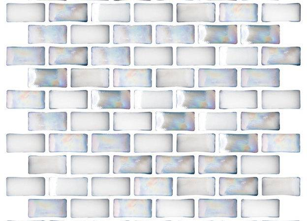 Iridescent White Curved Glass Tile Sheet