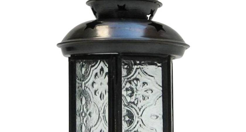 Iron Candle Lantern Clear Glass Antique Finish