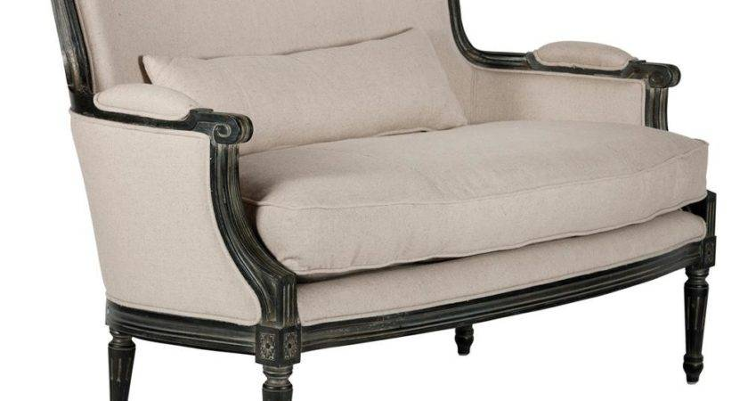 Isla Antique Black Linen French Country Masculine Settee
