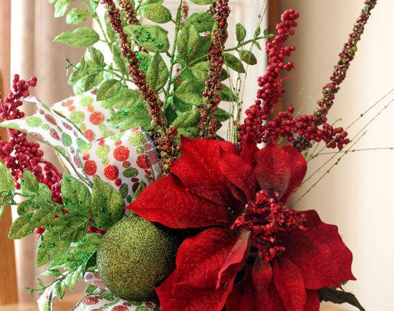 Items Similar Christmas Centerpiece Glittery Red