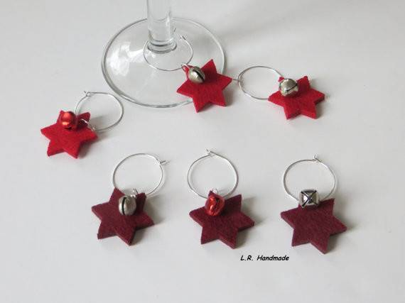 Items Similar Christmas Wine Glass Charm Set