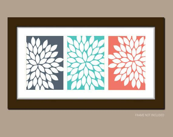 Items Similar Navy Coral Turquoise Wall Art Bathroom