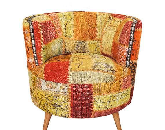 Items Similar Orange Patchwork Chair Covered