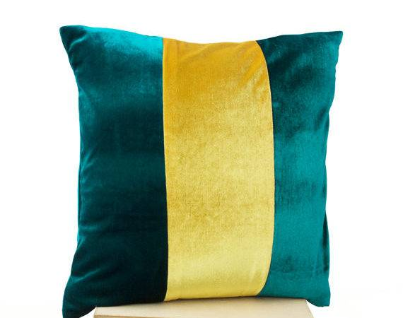 Items Similar Teal Pillow Applique Pillows Color Block