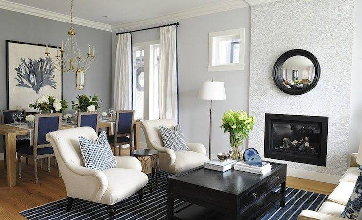 Ivory Blue Living Room Transitional