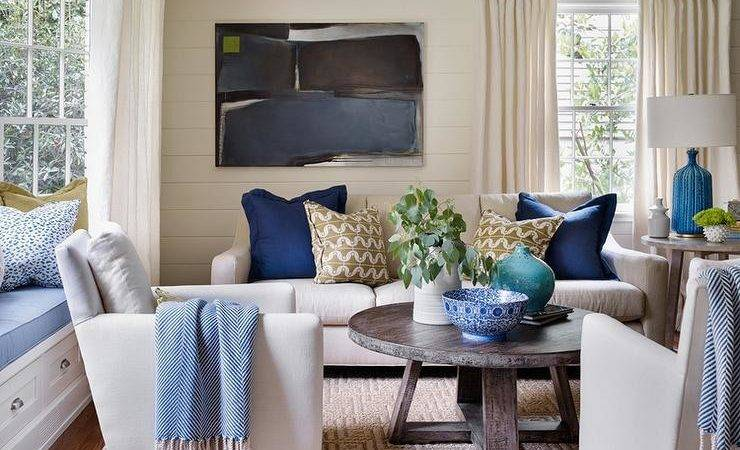 Ivory Blue Living Rooms Transitional Room