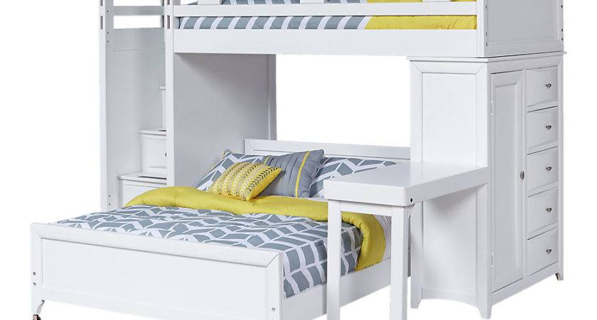 Ivy League White Twin Step Loft Bunk Chest