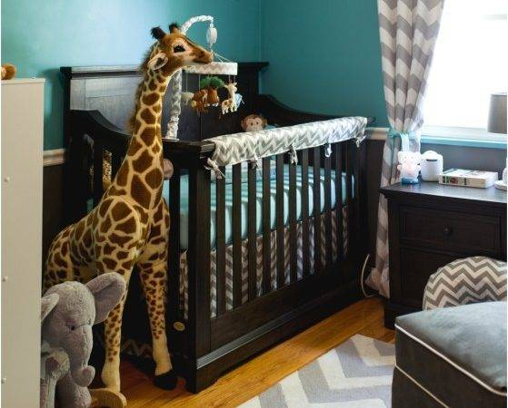 Jackson Teal Grey Chevron Safari Nursery Project