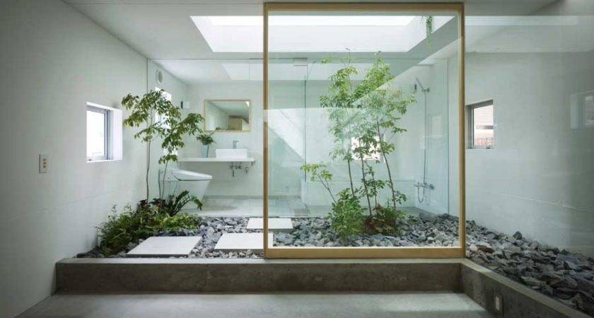 Japanese Style Zen Bathroom Courtyard Interior