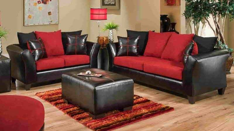 Jefferson Black Red Sofa Love Set Living Rooms