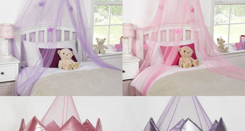 Kids Childrens Girls Princess Crown Bed Canopy Insect