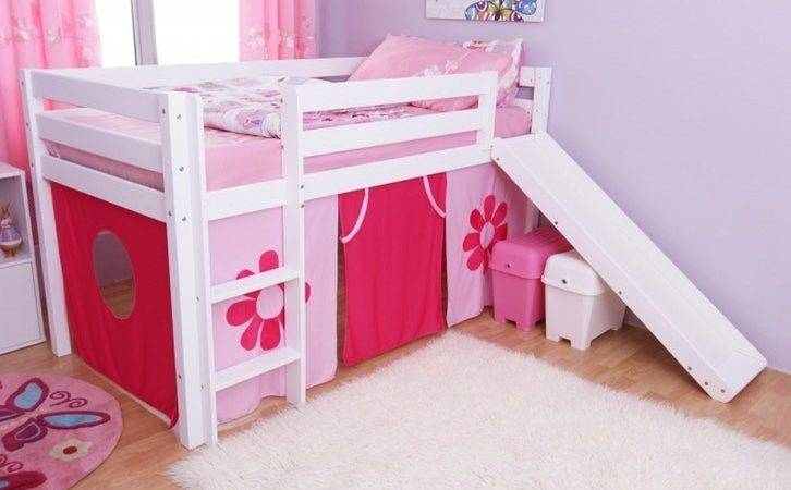 Kids Furniture Fdo Pink Flower Mid Sleeper Slide Bunk