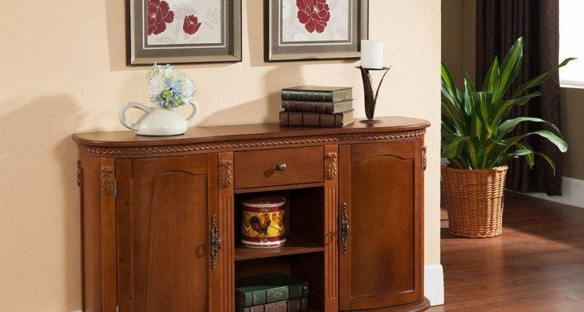 Kings Brand Walnut Finish Wood Console Sideboard Buffet