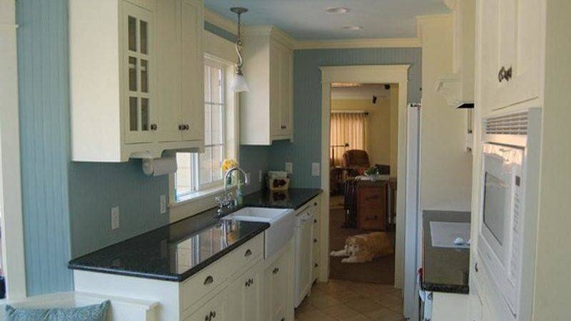Kitchen Blue Color Schemes Wood Cabinets