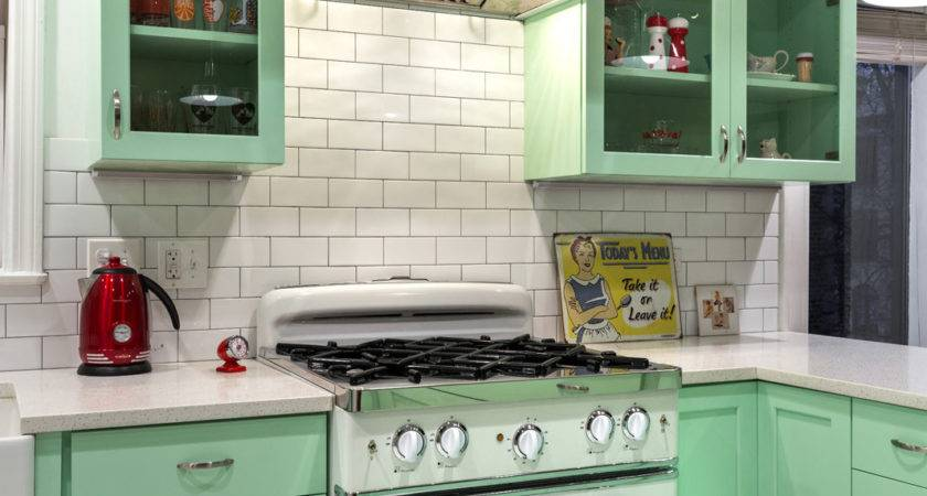 Kitchen Breezy Retro Features Mint Green Cabinets