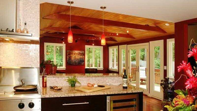 Kitchen Elegant Color Schemes Wood Cabinets