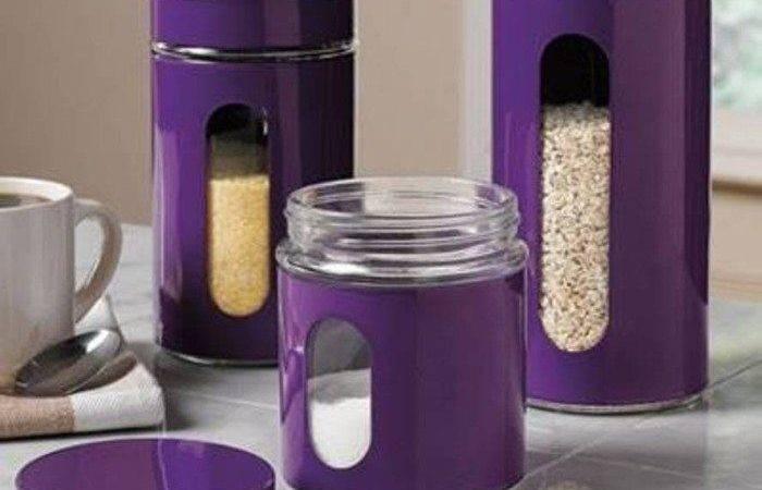 Kitchen Extraordinary Purple Canisters