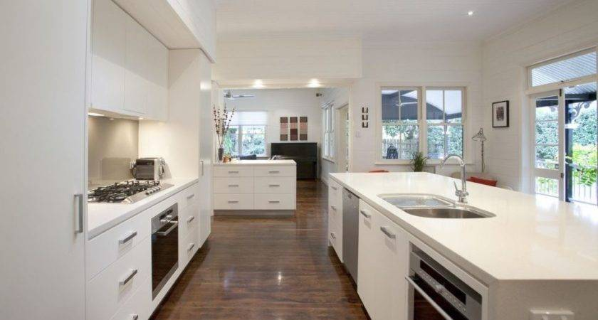 Kitchen Galley Open Dining Room Cabinets