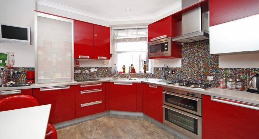 Kitchen Red Black Tiles White Tile