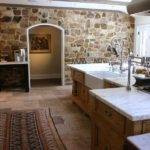 Kitchen Stone Wall Hooked Houses