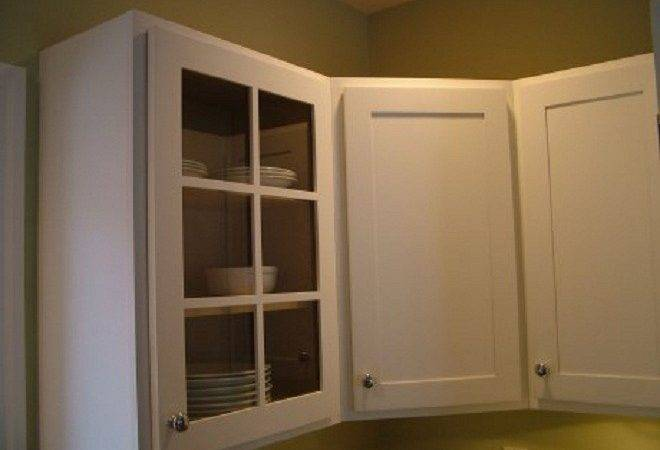 Kitchen White Cabinet Clear Glass Door Green Wall