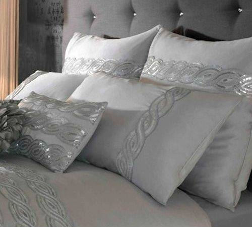 Kylie Home Sequin Silver Wave Housewife Pillow Case