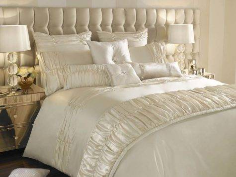 Kylie Minogue Bedding Karissa Luxury Faux Satin Cream Bed