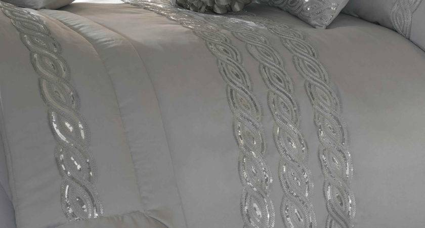 Kylie Sequins Wave Silver Bedding Set Next Day Delivery