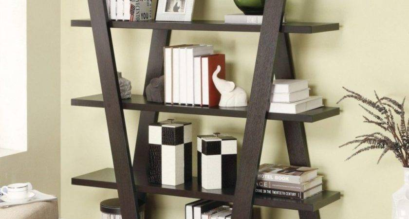 Ladder Bookcase Decor Theme Comes Wooden Varnishing
