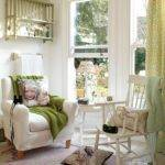 Laid Back White Country Living Room Green Accessories
