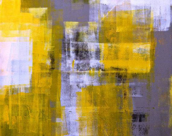 Large Acrylic Abstract Art Painting Yellow Black White