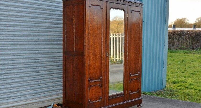 Large Antique Solid Oak Ladies Wardrobe Good Quality