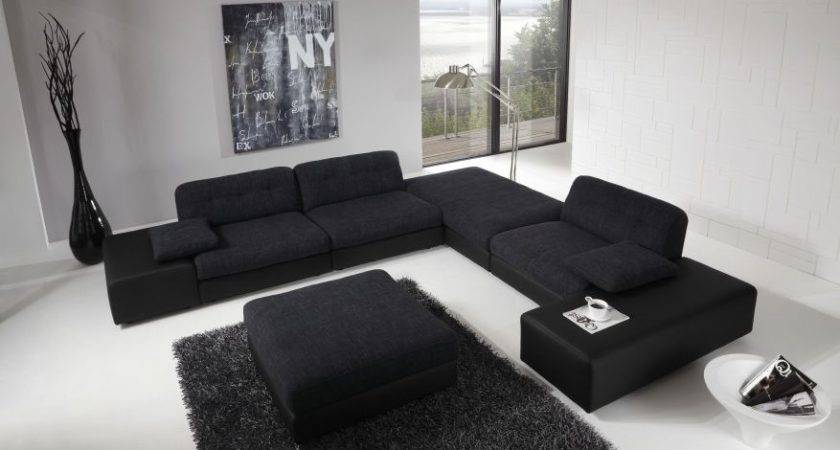 Large Black Sofa Modern Living Room Design High