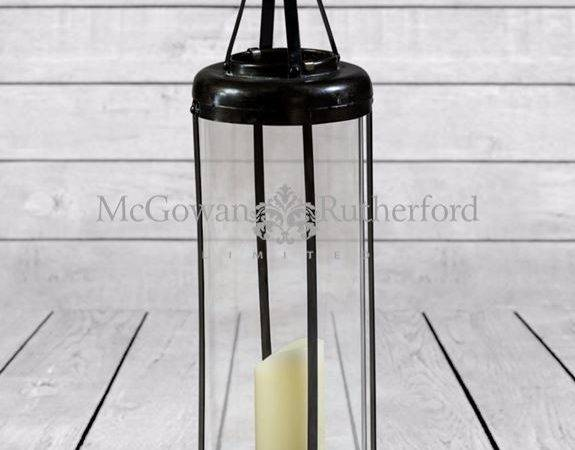 Large Industrial Antiqued Iron Candle Lantern