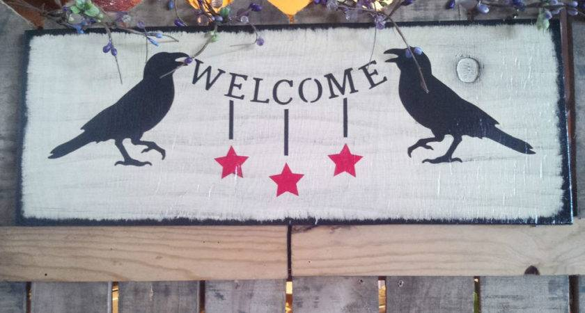 Large Primitive Crow Welcome Wooden Sign Ebay
