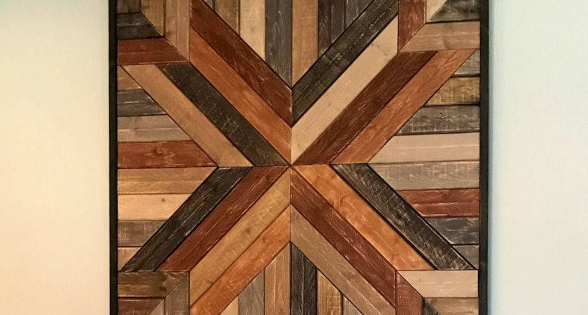 Large Primitive Geometric Quilted Wood Wall Art
