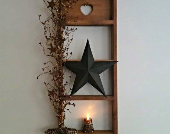Large Shelf Decor Rustic Primitive Lighted