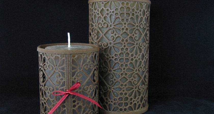 Large Wooden Candle Holders Laced Mosaic