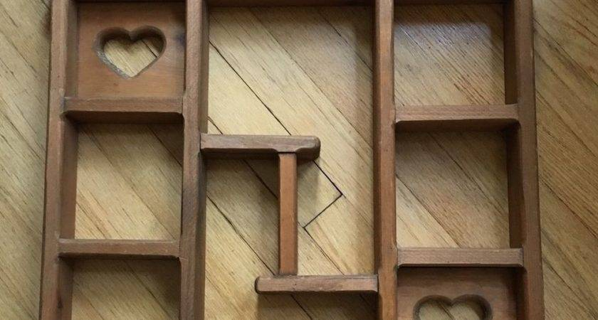 Large Wooden Wall Hanging Knick Knack Shelf Heart Cut Outs