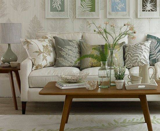 Leaf Themed Living Room Small Country Ideas