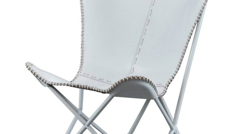 Leather Butterfly Chair Brilliant White Indoor