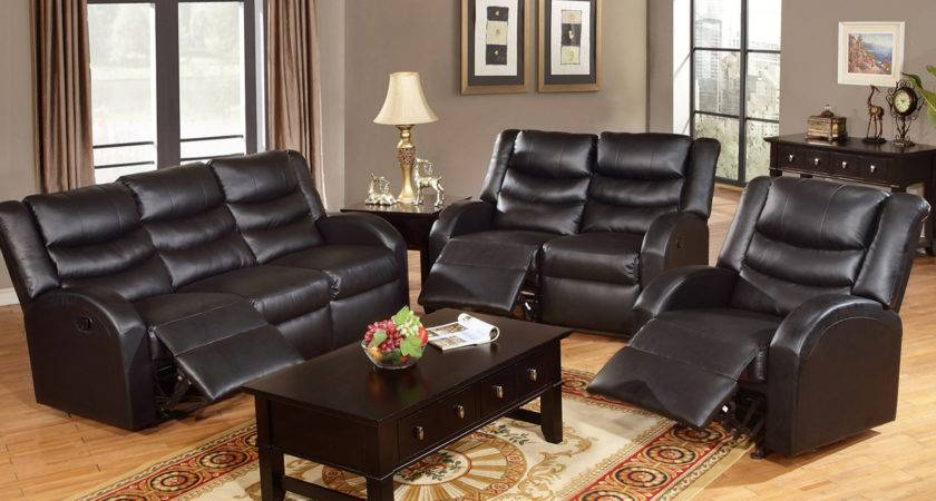 Leather Sofas Living Room Black Reclining Sofa Set
