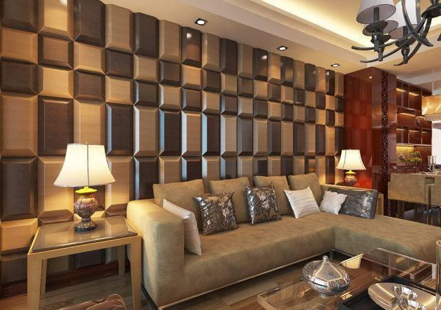 Leather Tiles Living Room Wall Designs Modern