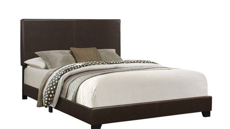 Leather Upholstered Queen Bed Dark Brown