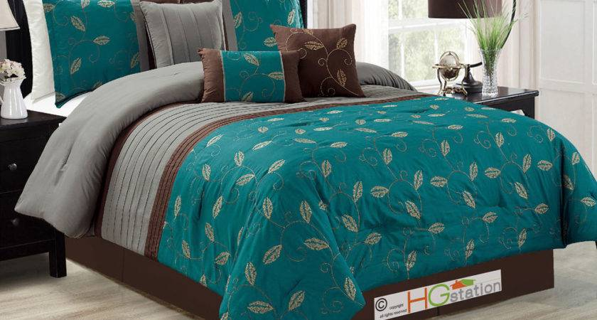 Leaves Scroll Vine Embroidery Comforter Set Teal