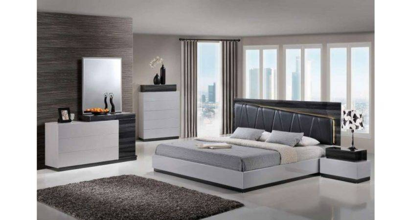 Lexi Modern Bedroom Set Two Tone Grey Finish